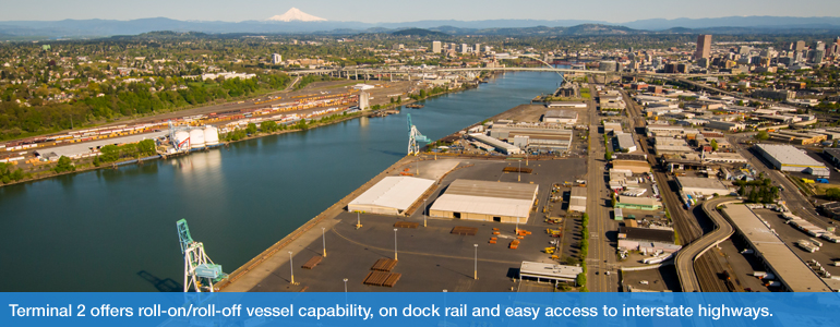 Terminal 2 offers roll-on/roll-off vessel capability, on dock rail and easy access to interstate highways.